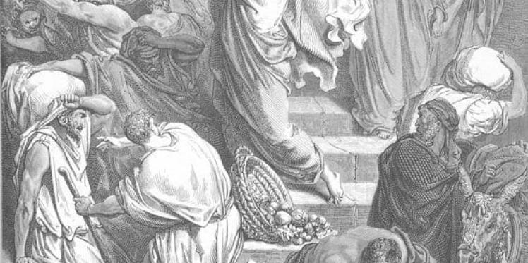 И, войдя в храм, начал выгонять продающих в нем и покупающих, говоря им: написано: дом Мой есть дом молитвы, а вы сделали его вертепом разбойников.